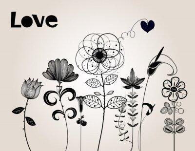 Naklejka kwiat tle wektor