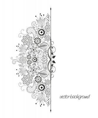 Naklejka kwiatowej dekoracji na białym tle