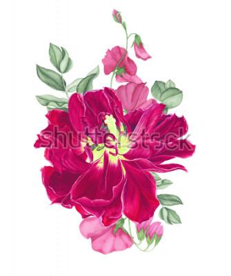 Naklejka Kwiatowy bukiet z różowym tulipanem, gałęziami eukaliptusa i groszkiem, akwarela. Do kart designu, nadruku, tekstyliów i wzorów.
