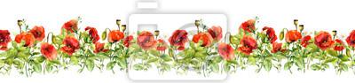 Kwiatowy granicy. Akwarela kwiaty łąka, trawy, zioła. Jednolite poziome ramki