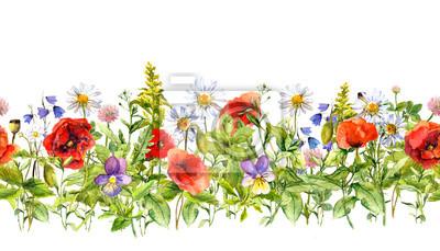 Kwiatowy granicy poziomej do projektowania mody. Akwarela dzikie kwiaty, trawy, zioła. Powtarzające ramki