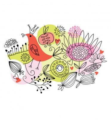 Naklejka kwiatowy ilustracja, kartkę z życzeniami