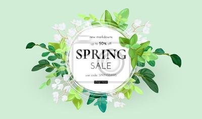 Naklejka Kwiatowy wiosenny wzór z białymi kwiatami, zielonymi liśćmi, eucaliptus i sukulentami. Okrągły kształt z miejscem na tekst. Sztandaru lub ulotki sprzedaży szablon, wektorowa ilustracja.