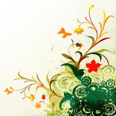 Naklejka kwiatowych grunge design z kręgów i motyli