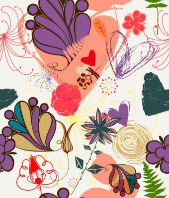 Naklejka Kwiatu bez szwu deseń w stylu retro