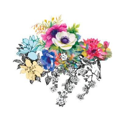 Naklejka Kwiaty bez szwu wzór akwarela, papier, tekstylia, tkaniny, wrapper, tapeta, vector