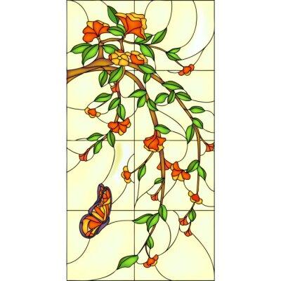W superbly Naklejka Kwiaty i motyle, witraże na wymiar • sztuka, tło, okładka MG59