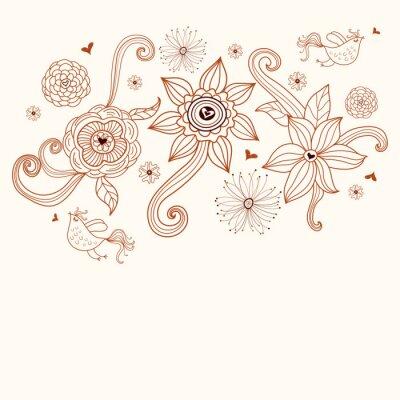 Naklejka Kwiaty i ptaki
