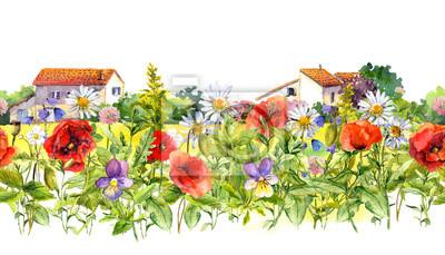 Kwiaty łąkowe, dzikie zioła, domy wiejskie. Granica kwiatów. Akwarela. Bez szwu ramki paskiem w stylu vintage