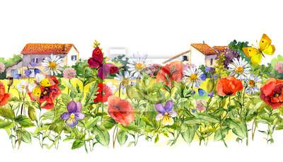 Kwiaty letnie - maki, rumianek, trawa łąkowa, motyle, domy rolnicze. Granica kwiatów. Akwarela. Bez szwu ramki w stylu wiejskim
