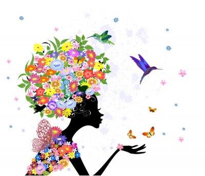 Naklejka kwiaty, moda, dziewczyna,