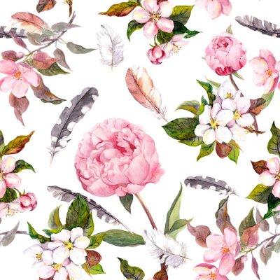 Naklejka kwiaty piwonii, Sakura, piór. Akwarela