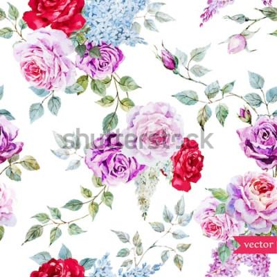 Naklejka kwiaty, róża, akwarela, wektor, vintage, wzór, kolorowy,