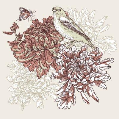Naklejka Kwiaty z ilustracji ptaków