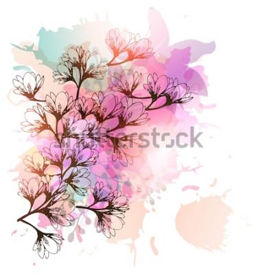 Naklejka Kwieciści tło magnolii kwiaty