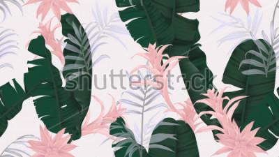 Naklejka Kwiecisty bezszwowy wzór, zieleni bananowi liście, różowa Bromeliaceae roślina i palma liście na jasnopopielatym tle, pastelowy rocznika temat