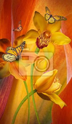 Kwiecisty tło orchidee, jaskrawi kwiaty na szarości. Zastosowano filtr z ziarnem.
