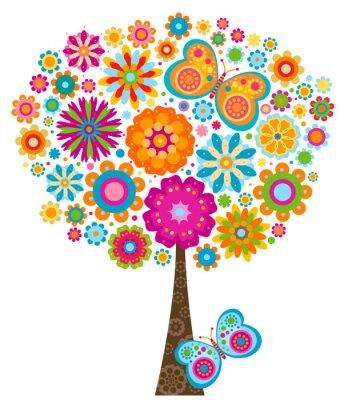 Naklejka kwitnące drzewo