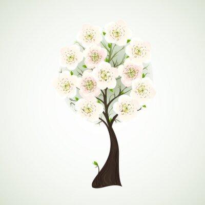 Naklejka Kwitnące drzewo sezon w jasnych kwiatów