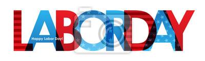 Naklejka LABOR DAY Banner z American Flag