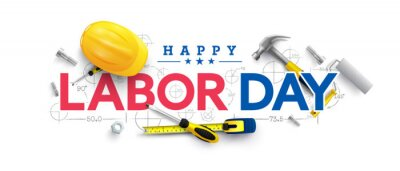 Naklejka Labor Day poster template.USA Labor Day celebration with Yellow safety hard hat and construction tools.Sale promotion advertising Poster or Banner for Labor Day