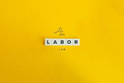 Naklejka Labor Law Banner and Concept. Block letters on bright orange background. Minimal aesthetics.