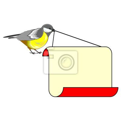 Ładny ptak (sikorki) z dużym puste papieru w dziobie