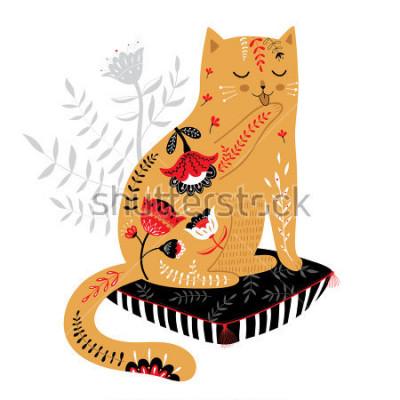 Naklejka ładny ręcznie przygotowany kota