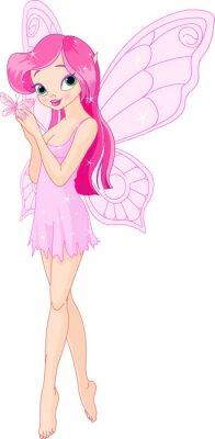 Naklejka Ładny różowy bajki z motylem