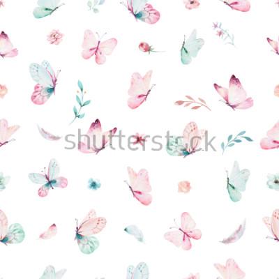 Naklejka Ładny wzór jednorożca akwarela z kwiatami. Wzory magiczne jednorożca przedszkola. Tekstura tęczy księżniczki. Modny różowy koń kucyk kreskówka.