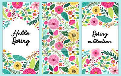 Naklejka Ładny zestaw pionowych banerów Wiosna Kwiaty