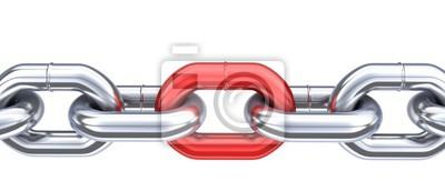 Naklejka Łańcuch i unikatowy czerwony Link