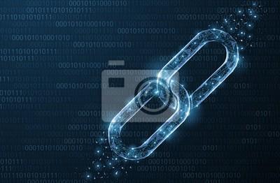Naklejka Łańcuch na białym tle streszczenie wektor. Wireframe łańcucha element na niebieskim tle. Zabezpieczenie łącza, technologia blockchain, symbol współpracy.