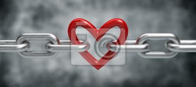 Naklejka Łańcuch z serca