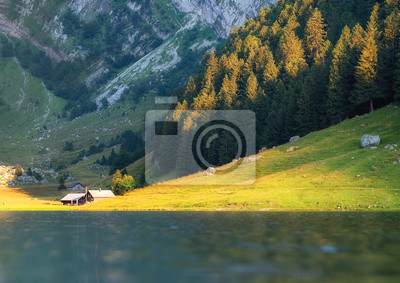 Naklejka Landscape in the Switzerland. Mountains and lake. Reflection on the water surface. Natural lndscape at the summer time. Switzerland - image