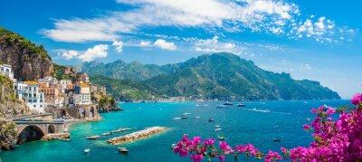 Naklejka Landscape with Atrani town at famous amalfi coast, Italy