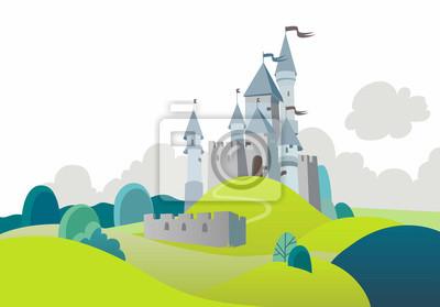 Naklejka Landscape with cartoon medieval castle