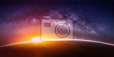 Naklejka Landscape with Milky way galaxy. Sunrise and Earth view from space with Milky way galaxy. (Elements of this image furnished by NASA)