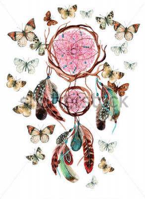 Naklejka Łapacz snów z piórami i mandali. Akwarela etniczny dreamcatcher i motyl połączony na białym tle. Ręcznie malowane ilustracje do wersji