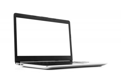 Naklejka Laptop with blank screen isolated on white background - mockup template, all laptop in focus