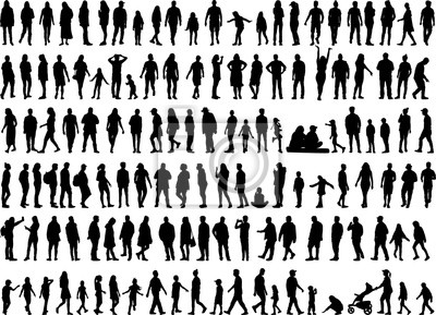 Naklejka Large collection of silhouettes concept.