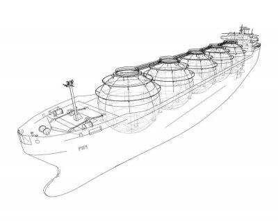 Naklejka Large gas tanker or LNG carrier. Vector
