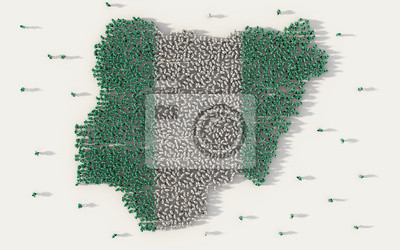 Naklejka Large group of people forming Nigeria map and national flag in social media and communication concept on white background. 3d sign symbol of crowd illustration from above gathered together