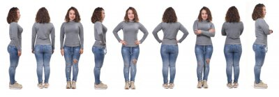 Naklejka large group of same woman with jeans front, back and side view on white background
