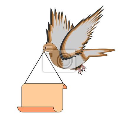 Naklejka Latające gołębie posiadających duży pusty papier w jego dziób