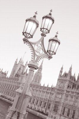 Naklejka Latarni Domów Parlamentu; Czarno-biały Sepia Tone w Londynie, Anglii, Wielkiej Brytanii