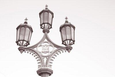 Naklejka Latarni, Westminster Bridge w Londynie w czerni i bieli Sepia Tone