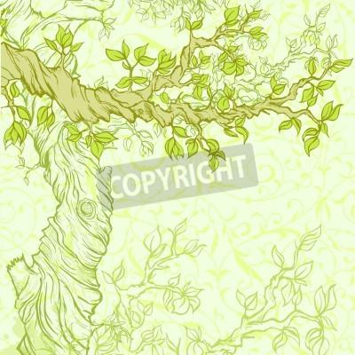 Naklejka Latem lub wiosną grunge z drzewa