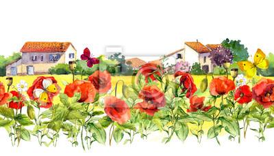 Latem maku kwiaty, motyle, domy prowansalskie. Granica kwiatów. Akwarela powtórzona ramka paska