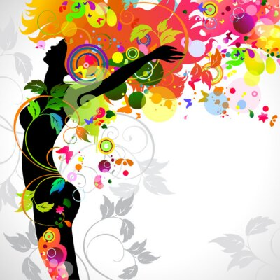 Naklejka Lato dekoracyjnych kompozycji z dziewczyną